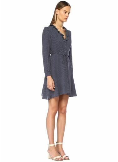 Glamorous V Yaka Puantiyeli Beli Bağlı Mini Elbise Lacivert